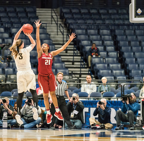 Arkansas Lady Razorbacks guard Devin Cosper (21) defends a shot during an SEC Tournament game between the Arkansas Lady Razorbacks and the Vanderbilt Commodores on Wednesday, Feb 28, 2018, in Nashville TN.  (Alan Jamison, Nate Allen Sports Service)