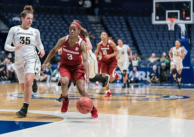 Arkansas Lady Razorbacks guard Malica Monk (3) drives to the basket during an SEC Tournament game between the Arkansas Lady Razorbacks and the Vanderbilt Commodores on Wednesday, Feb 28, 2018, in Nashville TN.  (Alan Jamison, Nate Allen Sports Service)