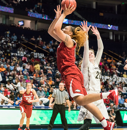 Arkansas Lady Razorbacks forward/center Kiara Williams (10) shoots during an SEC Tournament game between the Arkansas Lady Razorbacks and the Vanderbilt Commodores on Wednesday, Feb 28, 2018, in Nashville TN.  (Alan Jamison, Nate Allen Sports Service)