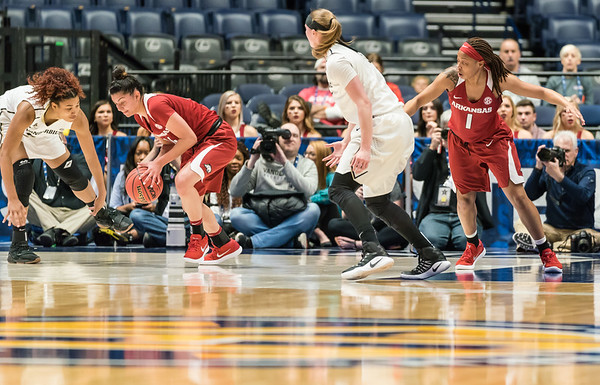 Arkansas Lady Razorbacks guard Jailyn Mason (14) steals the ball during an SEC Tournament game between the Arkansas Lady Razorbacks and the Vanderbilt Commodores on Wednesday, Feb 28, 2018, in Nashville TN.  (Alan Jamison, Nate Allen Sports Service)
