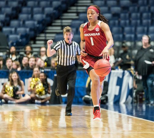 Arkansas Lady Razorbacks guard Raven Northcross-Baker (1) advances the ball during an SEC Tournament game between the Arkansas Lady Razorbacks and the Vanderbilt Commodores on Wednesday, Feb 28, 2018, in Nashville TN.  (Alan Jamison, Nate Allen Sports Service)
