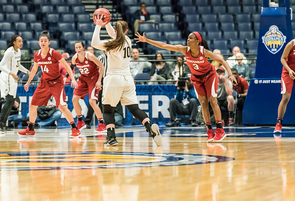 Arkansas Lady Razorbacks guard Malica Monk (3) defends  during an SEC Tournament game between the Arkansas Lady Razorbacks and the Vanderbilt Commodores on Wednesday, Feb 28, 2018, in Nashville TN.  (Alan Jamison, Nate Allen Sports Service)