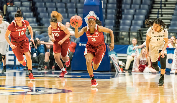 Arkansas Lady Razorbacks guard Malica Monk (3) at point during an SEC Tournament game between the Arkansas Lady Razorbacks and the Vanderbilt Commodores on Wednesday, Feb 28, 2018, in Nashville TN.  (Alan Jamison, Nate Allen Sports Service)