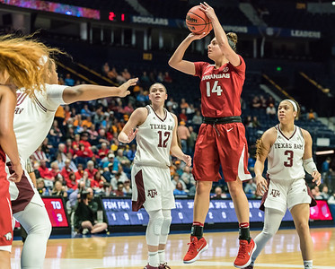 Arkansas Lady Razorbacks guard Jailyn Mason (14) shoots during an SEC Tournament game between the Arkansas Lady Razorbacks and the Texas A&M Aggies on Thursday, March 1, 2018, in Nashville TN.  (Alan Jamison, Nate Allen Sports Service)