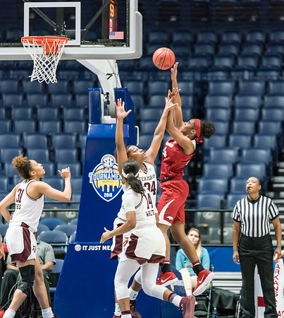 Arkansas Lady Razorbacks forward Taylah Thomas (24) shoots during an SEC Tournament game between the Arkansas Lady Razorbacks and the Texas A&M Aggies on Thursday, March 1, 2018, in Nashville TN.  (Alan Jamison, Nate Allen Sports Service)