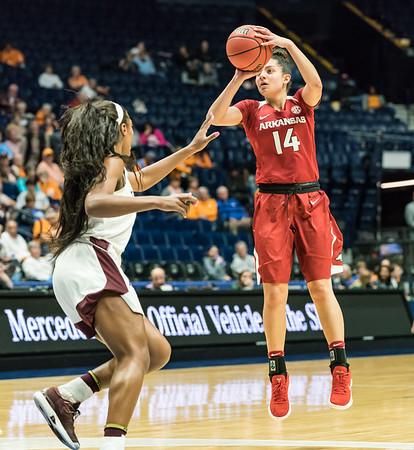 Arkansas Lady Razorbacks guard Jailyn Mason (14) shoots during an SEC Tournament game between the Arkansas Lady Razorbacks and the Texas A&M Aggies on Thursday, March 1, 2018, in Nashville TN.  (Alan Jamison, Nate Allen Sports Service)