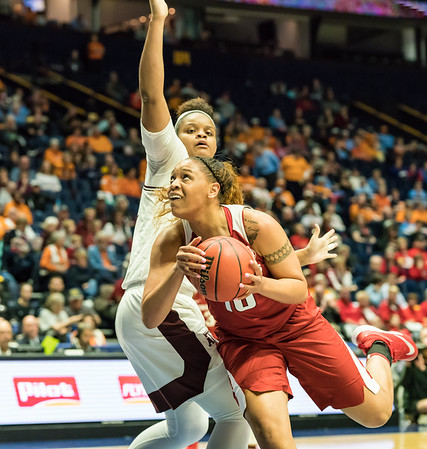 Arkansas Lady Razorbacks forward/center Kiara Williams (10) drives to the basket during an SEC Tournament game between the Arkansas Lady Razorbacks and the Texas A&M Aggies on Thursday, March 1, 2018, in Nashville TN.  (Alan Jamison, Nate Allen Sports Service)