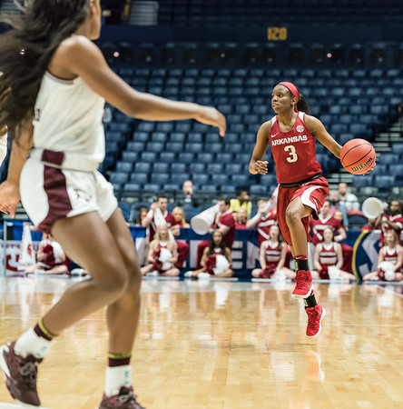 Arkansas Lady Razorbacks guard Malica Monk (3) leads the offense during an SEC Tournament game between the Arkansas Lady Razorbacks and the Texas A&M Aggies on Thursday, March 1, 2018, in Nashville TN.  (Alan Jamison, Nate Allen Sports Service)