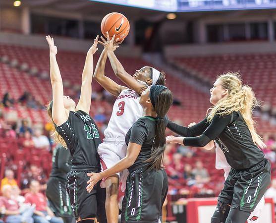 Arkansas Lady Razorbacks guard Malica Monk (3) shoots during a basketball game between Arkansas and Oklahoma Baptist University on Thursday, November 3, 2016.  (Alan Jamison, Nate Allen Sports Service)