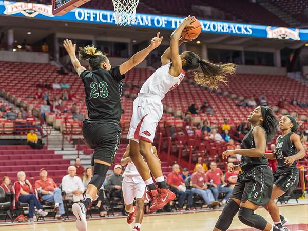 Arkansas Lady Razorbacks guard Briunna Freeman (12) shoots during a basketball game between Arkansas and Oklahoma Baptist University on Thursday, November 3, 2016.  (Alan Jamison, Nate Allen Sports Service)