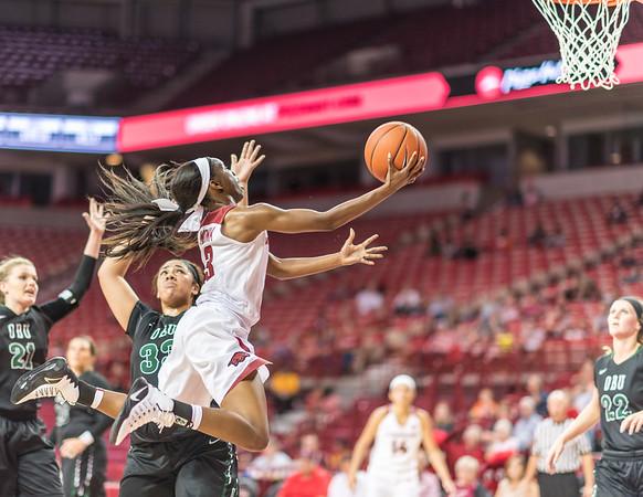 Arkansas Lady Razorbacks guard Malica Monk (3) drives during a basketball game between Arkansas and Oklahoma Baptist University on Thursday, November 3, 2016.  (Alan Jamison, Nate Allen Sports Service)