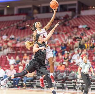 Arkansas Lady Razorbacks guard Jordan Danberry (24) drives during a basketball game between Arkansas and Oklahoma Baptist University on Thursday, November 3, 2016.  (Alan Jamison, Nate Allen Sports Service)