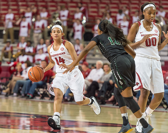 Arkansas Lady Razorbacks guard Jailyn Mason (14) looks to pass during a basketball game between Arkansas and Oklahoma Baptist University on Thursday, November 3, 2016.  (Alan Jamison, Nate Allen Sports Service)