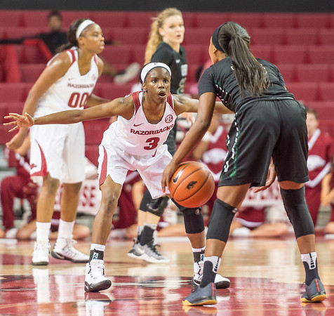 Arkansas Lady Razorbacks guard Malica Monk (3) defends during a basketball game between Arkansas and Oklahoma Baptist University on Thursday, November 3, 2016.  (Alan Jamison, Nate Allen Sports Service)