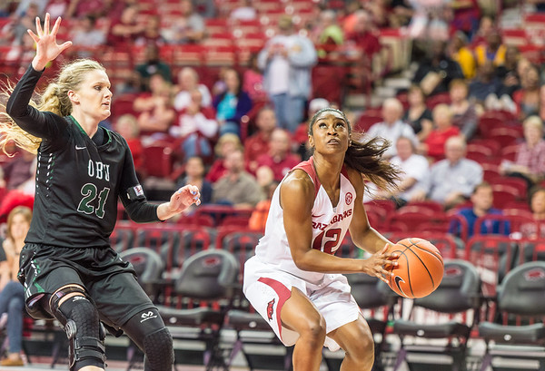 Arkansas Lady Razorbacks guard Briunna Freeman (12) looks to shoot during a basketball game between Arkansas and Oklahoma Baptist University on Thursday, November 3, 2016.  (Alan Jamison, Nate Allen Sports Service)