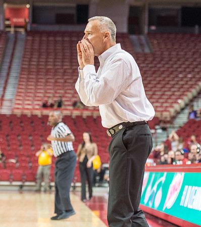 Arkansas Lady Razorbacks head coach Jimmy Dykes shouts instructions during a basketball game between Arkansas and Oklahoma Baptist University on Thursday, November 3, 2016.  (Alan Jamison, Nate Allen Sports Service)