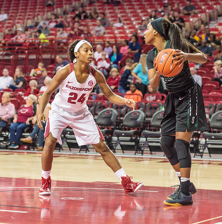 Arkansas Lady Razorbacks guard Jordan Danberry (24) presses during a basketball game between Arkansas and Oklahoma Baptist University on Thursday, November 3, 2016.  (Alan Jamison, Nate Allen Sports Service)