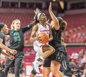 Arkansas Lady Razorbacks guard Malica Monk (3) drives during a basketball game between Arkansas and Oklahoma Baptist University on Thursday, November 3, 2016.  (Alan Jamison, Nate Allen Sports Service)