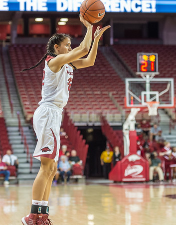 Arkansas Lady Razorbacks guard/forward Bailey Zimmerman (22) shoots during a basketball game between Arkansas and Oklahoma Baptist University on Thursday, November 3, 2016.  (Alan Jamison, Nate Allen Sports Service)