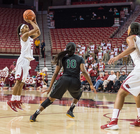Arkansas Lady Razorbacks guard Jordan Danberry (24) shoots during a basketball game between Arkansas and Oklahoma Baptist University on Thursday, November 3, 2016.  (Alan Jamison, Nate Allen Sports Service)