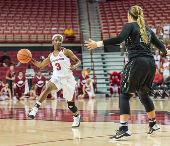 Arkansas Lady Razorbacks guard Malica Monk (3) passes  during a basketball game between Arkansas and Oklahoma Baptist University on Thursday, November 3, 2016.  (Alan Jamison, Nate Allen Sports Service)