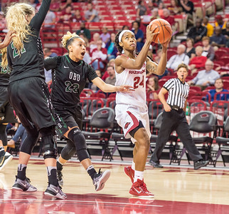 Arkansas Lady Razorbacks guard Jordan Danberry (24) drives during a basketball game between Arkansas and Oklahoma Baptist University on Thursday, November 3, 2016.  (Alan Jamison, Nate Allen Sports Service)