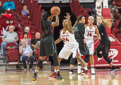 Arkansas Lady Razorbacks guard Jordan Danberry (24) defends during a basketball game between Arkansas and Oklahoma Baptist University on Thursday, November 3, 2016.  (Alan Jamison, Nate Allen Sports Service)