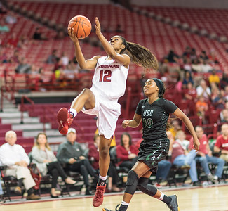 Arkansas Lady Razorbacks guard Briunna Freeman (12) shoots a layup during a basketball game between Arkansas and Oklahoma Baptist University on Thursday, November 3, 2016.  (Alan Jamison, Nate Allen Sports Service)