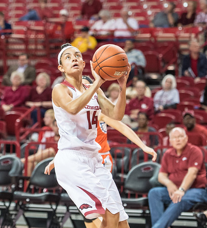 Arkansas Lady Razorbacks guard Jailyn Mason (14) drives during a basketball game between Arkansas and Sam Houston State on Friday, November 11, 2016.  (Alan Jamison, Nate Allen Sports Service)