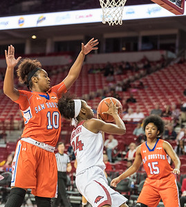 Arkansas Lady Razorbacks guard Jordan Danberry (24) drives during a basketball game between Arkansas and Sam Houston State on Friday, November 11, 2016.  (Alan Jamison, Nate Allen Sports Service)