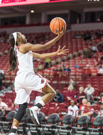 Arkansas Lady Razorbacks guard Malica Monk (3) with a layup during a basketball game between Arkansas and Sam Houston State on Friday, November 11, 2016.  (Alan Jamison, Nate Allen Sports Service)