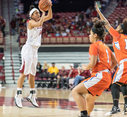 Arkansas Lady Razorbacks guard Jailyn Mason (14) shoots during a basketball game between Arkansas and Sam Houston State on Friday, November 11, 2016.  (Alan Jamison, Nate Allen Sports Service)