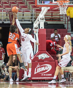 Arkansas Lady Razorbacks forward Jessica Jackson (00) blocks a shot during a basketball game between Arkansas and Sam Houston State on Friday, November 11, 2016.  (Alan Jamison, Nate Allen Sports Service)