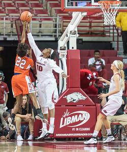 Arkansas Lady Razorbacks forward Jessica Jackson (00) blocks a shot during a basketball game between Arkansas and Sam Houston State on Friday, November 11, 2016.  (Alan Jamison, Nate Allen Sports Service)