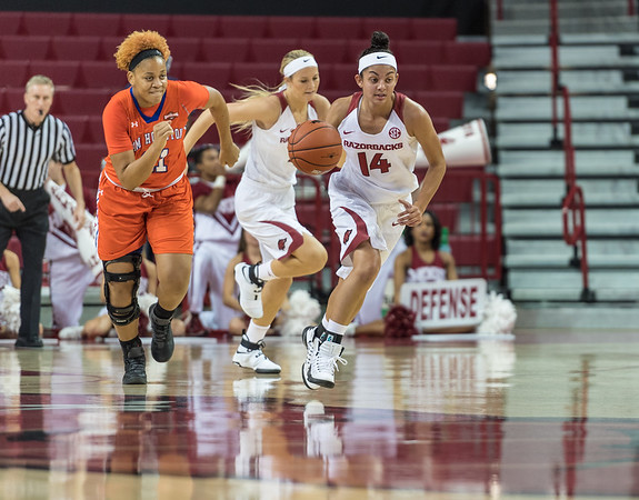 Arkansas Lady Razorbacks guard Jailyn Mason (14) runs a play during a basketball game between Arkansas and Sam Houston State on Friday, November 11, 2016.  (Alan Jamison, Nate Allen Sports Service)