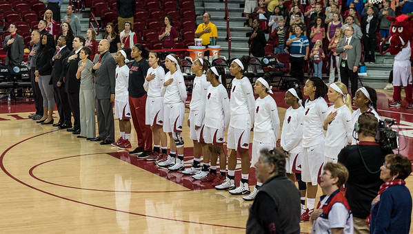 Razorback players stand during the national anthem during a basketball game between Arkansas and Sam Houston State on Friday, November 11, 2016.  (Alan Jamison, Nate Allen Sports Service)