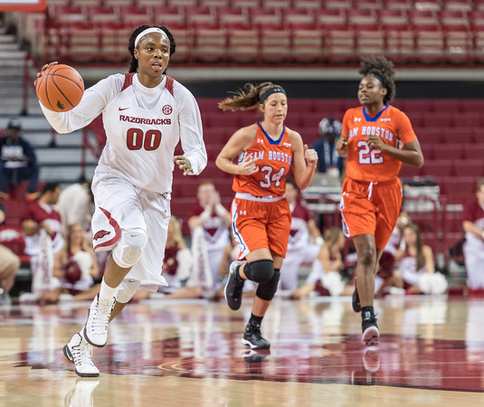 Arkansas Lady Razorbacks forward Jessica Jackson (00) dribbles during a basketball game between Arkansas and Sam Houston State on Friday, November 11, 2016.  (Alan Jamison, Nate Allen Sports Service)