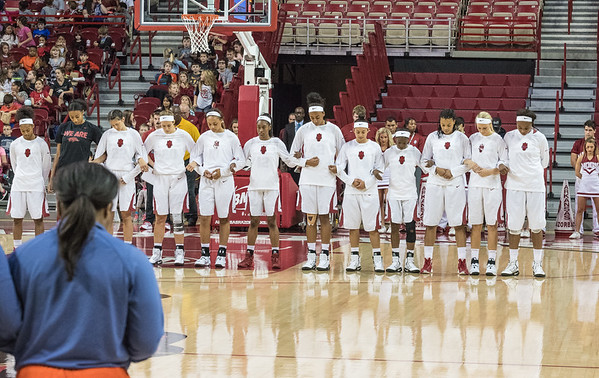 Razorback players before the basketball game between Arkansas and Sam Houston State on Friday, November 11, 2016.  (Alan Jamison, Nate Allen Sports Service)