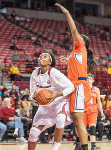 Arkansas Lady Razorbacks forward Jessica Jackson (00) looks to shoot during a basketball game between Arkansas and Sam Houston State on Friday, November 11, 2016.  (Alan Jamison, Nate Allen Sports Service)