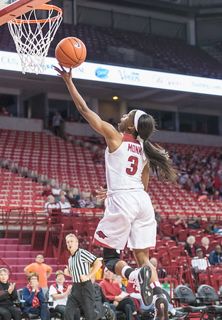 Arkansas Lady Razorbacks guard Malica Monk (3) shoots during a basketball game between Arkansas and Sam Houston State on Friday, November 11, 2016.  (Alan Jamison, Nate Allen Sports Service)
