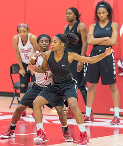 Jordan Danberry blocks out Malica Monk during practice at the Women's Basketball Media Day at the new Basketball Performance Center at the University of Arkansas.  (Alan Jamison, Nate Allen Sports Service)