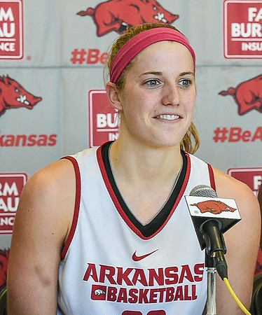 Melissa Wolff meets with the media during the Women's Basketball Media Day at the new Basketball Performance Center at the University of Arkansas.  (Alan Jamison, Nate Allen Sports Service)
