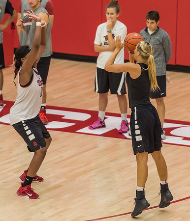 Melissa Wolff shoots a three pointer at practice during the Women's Basketball Media Day at the new Basketball Performance Center at the University of Arkansas.  (Alan Jamison, Nate Allen Sports Service)