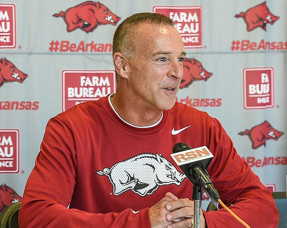 Head Coach Jimmy Dykes meets with media during the Women's Basketball Media Day at the new Basketball Performance Center at the University of Arkansas.  (Alan Jamison, Nate Allen Sports Service)