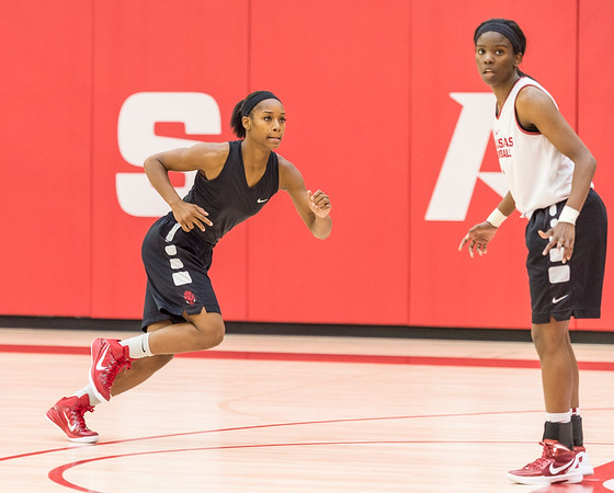 Jordan Danberry sprints for the baseline at practice during the Women's Basketball Media Day at the new Basketball Performance Center at the University of Arkansas.  (Alan Jamison, Nate Allen Sports Service)