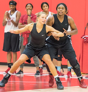 Melissa Wolff blocks out Jessica Jackson during practice at the Women's Basketball Media Day at the new Basketball Performance Center at the University of Arkansas.  (Alan Jamison, Nate Allen Sports Service)