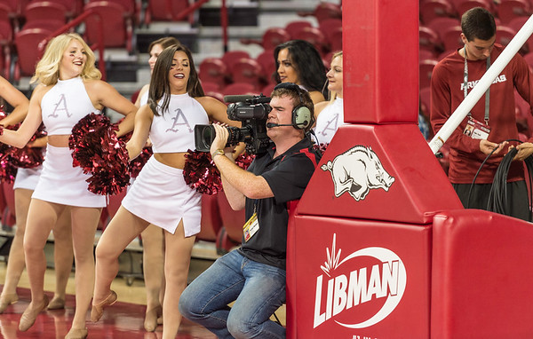 during a basketball game between Arkansas and Oklahoma Baptist University on Thursday, November 3, 2016.  (Alan Jamison, Nate Allen Sports Service)