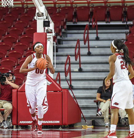 Arkansas Lady Razorbacks forward Jessica Jackson (00) clears a rebound during a basketball game between Arkansas and Oral Roberts on December 10, 2015.    (Alan Jamison, Nate Allen Sports Service)