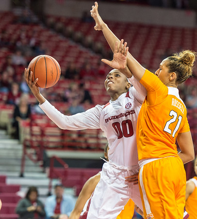 Arkansas Lady Razorbacks forward Jessica Jackson (00) goes up for a shot during a basketball game between Arkansas and Tennessee on January 14, 2016.    (Alan Jamison, Nate Allen Sports Service)