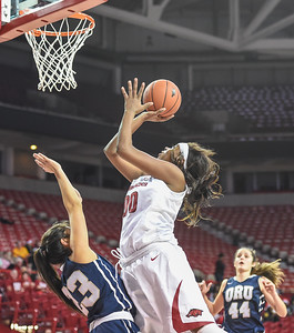 Arkansas Lady Razorbacks forward Jessica Jackson (00) shots during a basketball game between Arkansas and Oral Roberts on December 10, 2015.    (Alan Jamison, Nate Allen Sports Service)